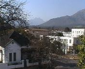 Central Stellenbosch can be seen from the apartment building in which Squirrel & Vine self-catering is situated