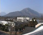 A view of Stellenbosch and its mountains from the apartment building's rooftop